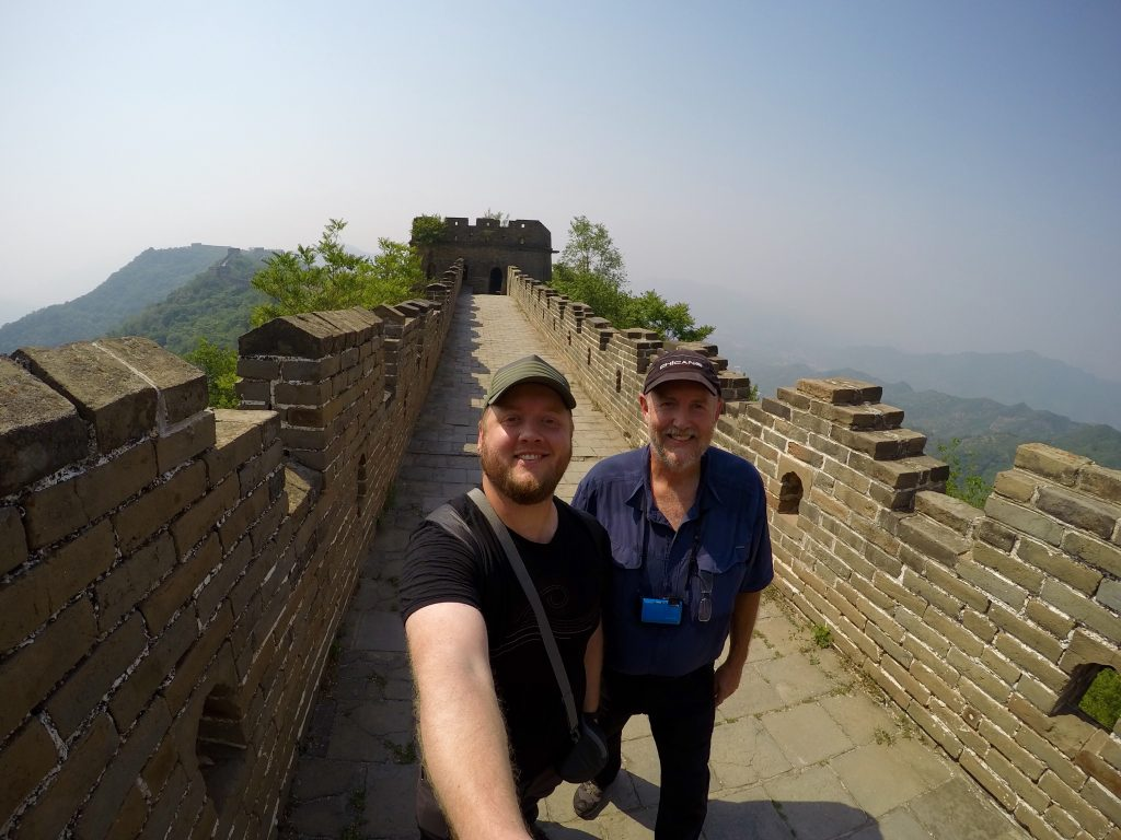 My dad and I Hiking on an uncrowded Great Wall - Mutianyu