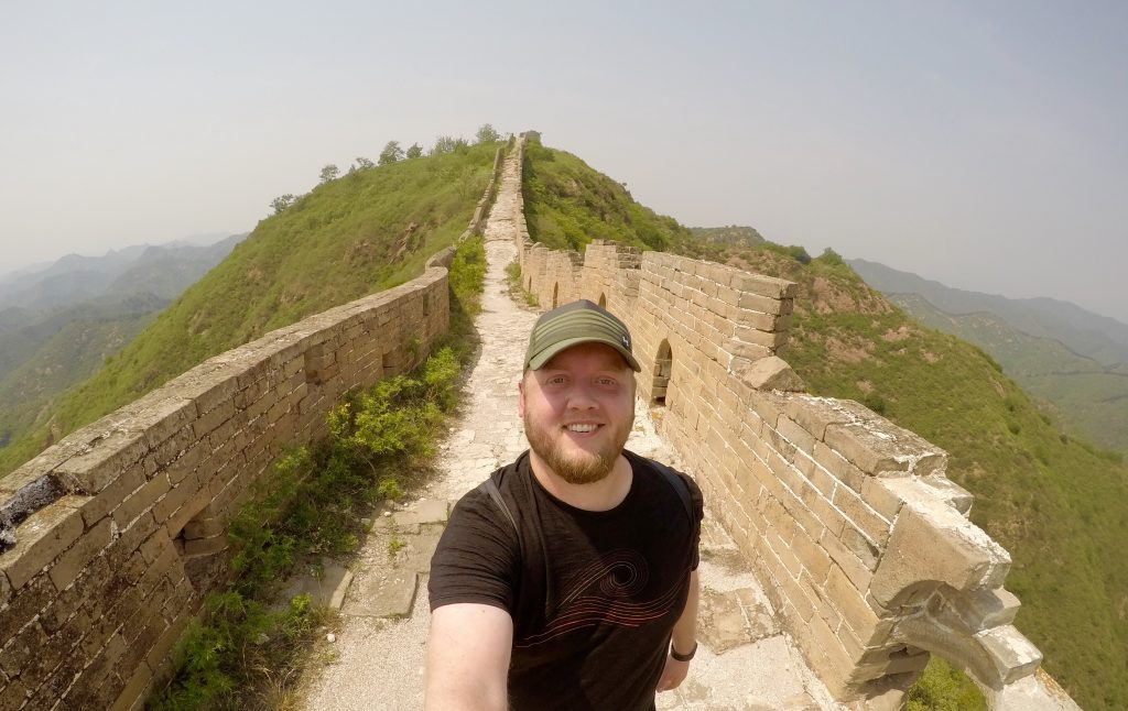 Hiking on the wild part of the Great Wall.