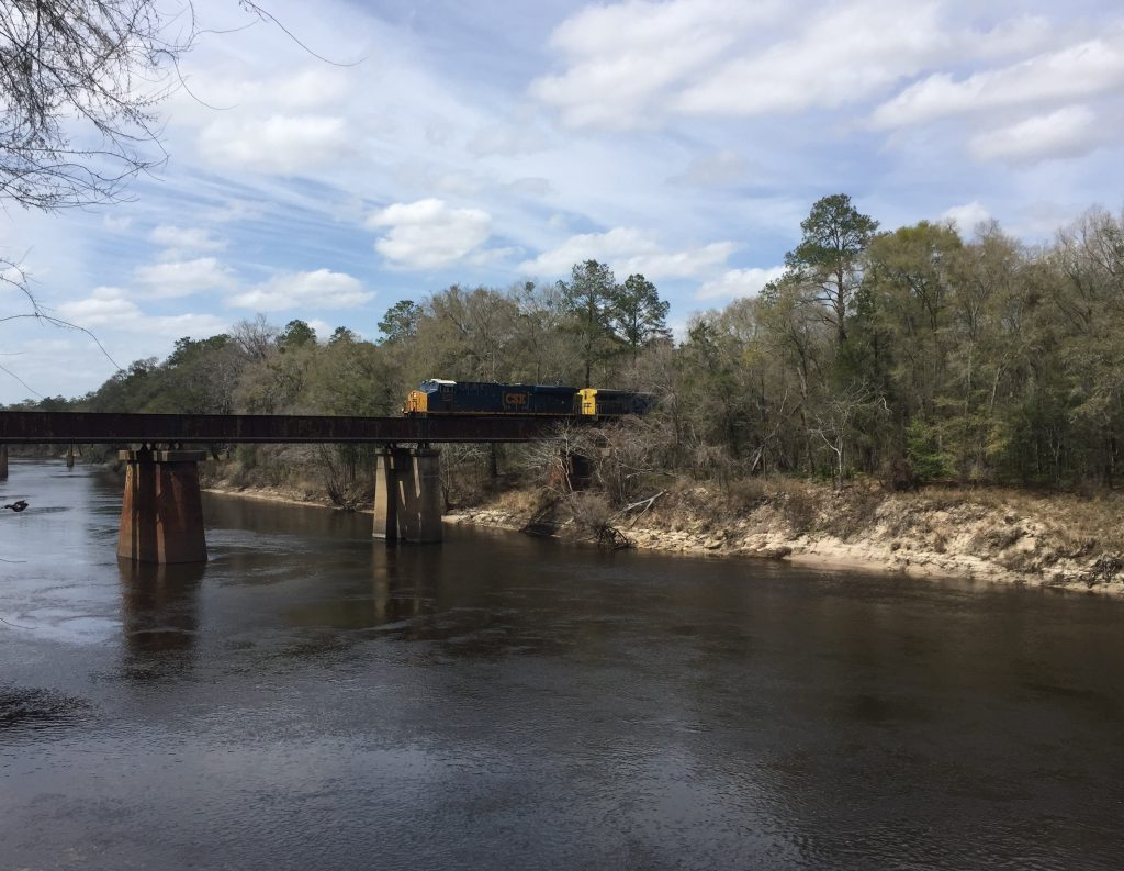 Train crossing the river at Suwannee River State Park.