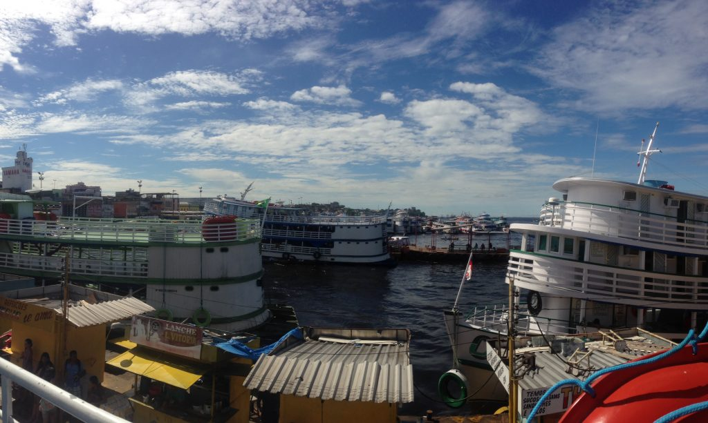 View of busy Manaus pier from our boat.