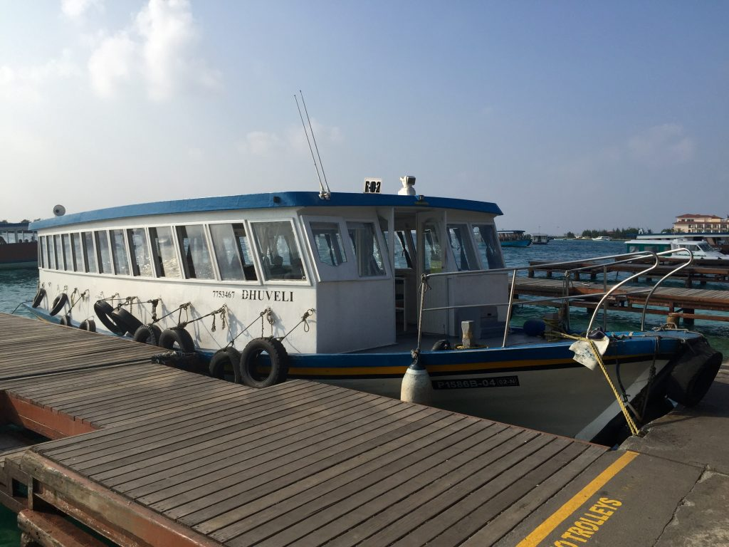 Ferry from Ibrahim Nasir Airport to Malé City.