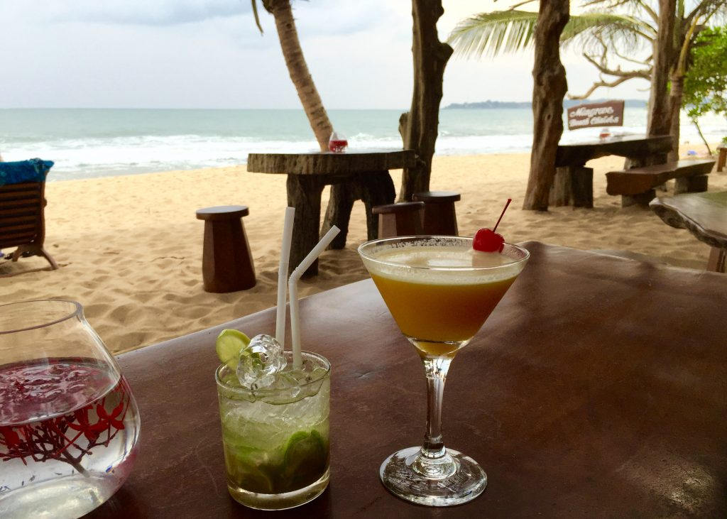 Drinks with a view on the beaches near Tangalle.