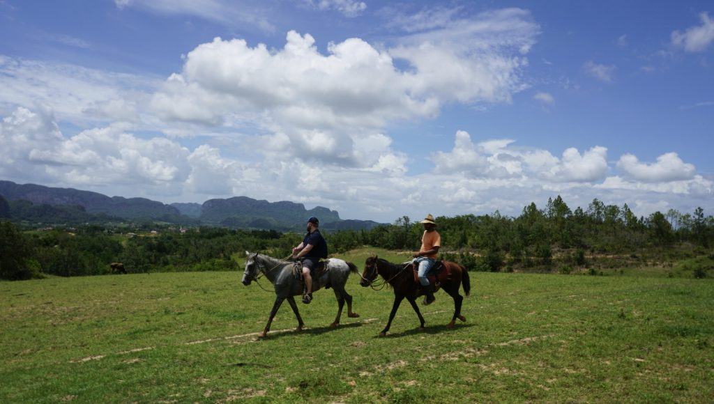 View of the Mogotes while riding horses in Viñales